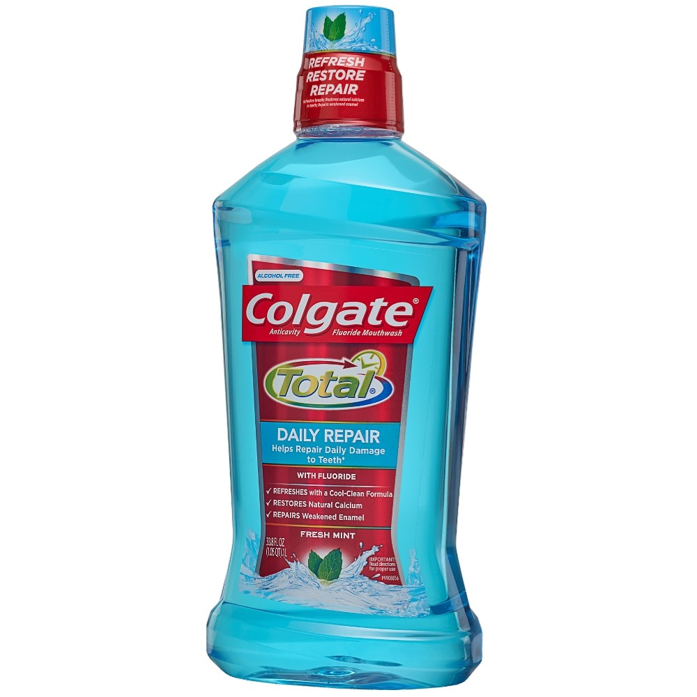 Colgate Total Daily Repair Mouthwash, Fresh Mint - 1L, 33.8 fl oz