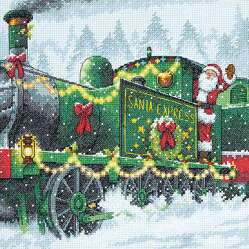 "Santa Express Counted Cross Stitch Kit, 10"" x 10"", 14-Count"