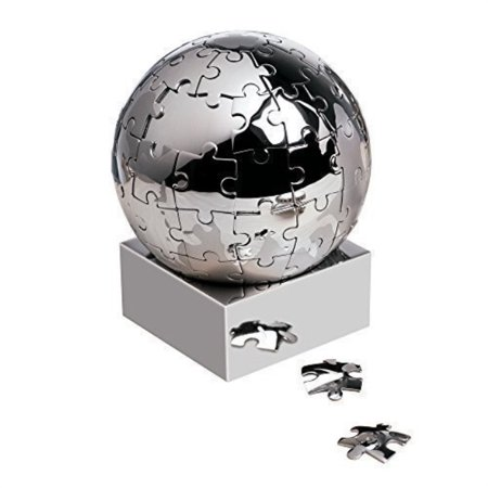 eBuyGB Magnetic Stainless Steel World 3D Puzzle Globe Executive Gift Silver