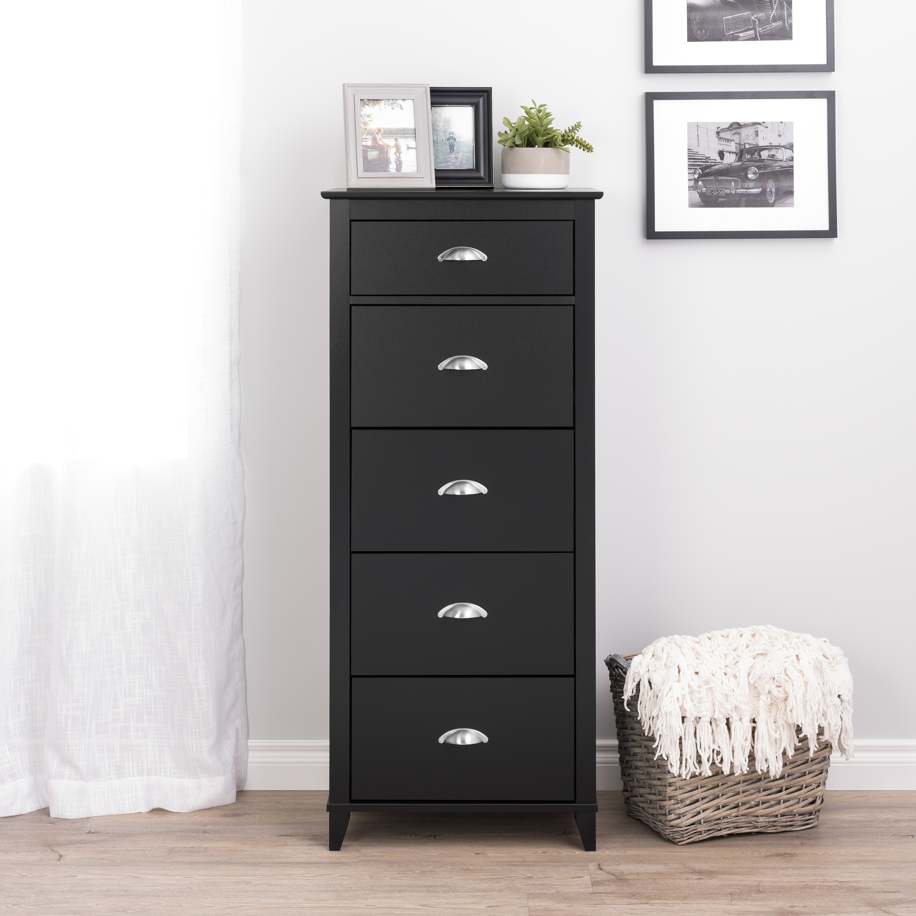 Yaletown 5 Drawer Tall Chest Espresso Lingerie Cabinet Drawers