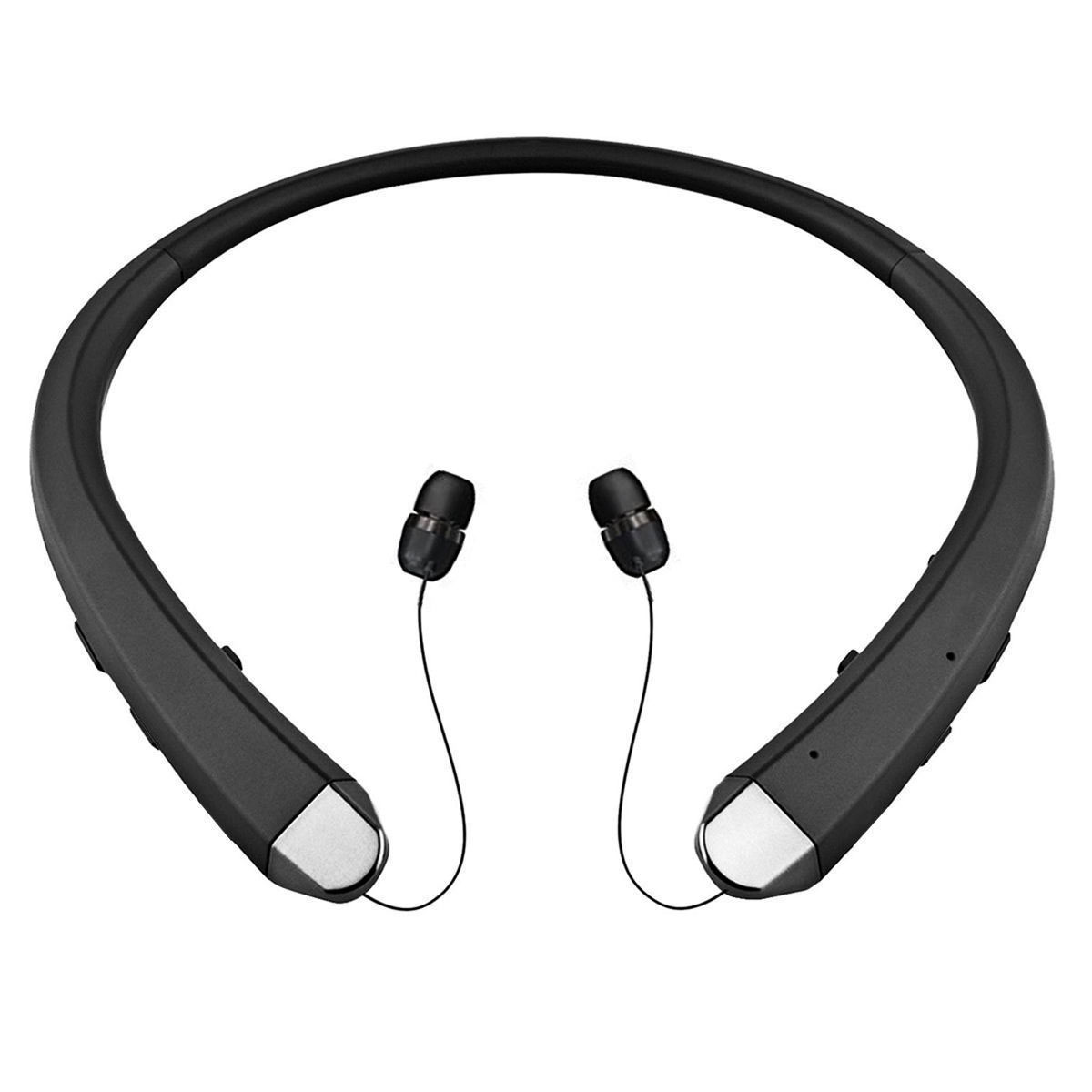 Wireless Bluetooth 4.0 NeckBand Headset Sport Stereo Retractable Headphone Earbuds Earphone with MIC Microphone(Black)