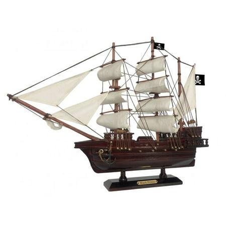 Wooden Pirate Ship (Wooden Ben Franklin's Black Prince White Sails Pirate Ship Model 20