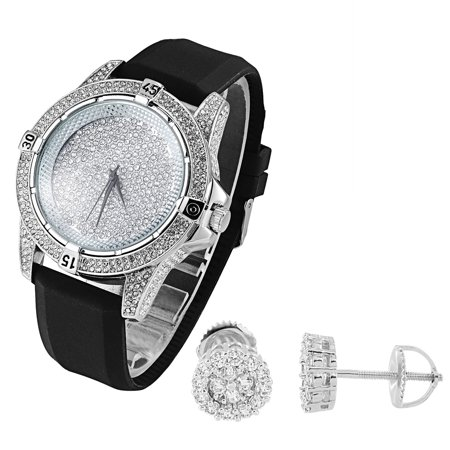 Hip Hop Mens Watch Techno Pave White Gold Finish Cluster Set Earrings Studs 8mm