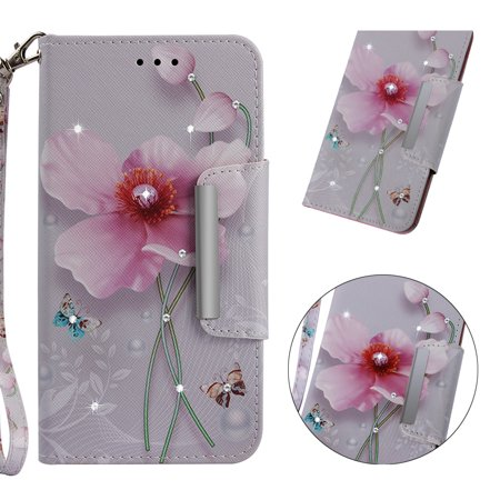 iPhone Xr Wallet Case, iPhone Xr Case, Allytech 3D Bling Crystal Rhinestone Slim PU Leather Flip Cover with Card Holder Stand Protective Book Case Cover for iPhone Xr 6.1-inch 2018, Pink Floral