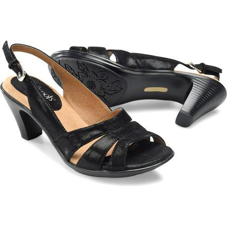 SoftSpots Neima Womens Black Shiny Suede Open Toe Comfort Slingbacks Sandals