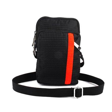 Unique Bargains Portable Check Pattern Vertical Bag Pouch Holder Black For Smartphone Mp4 Keys