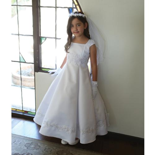 Angels Garment Girls White Embroidered Appliques Communion Dress 7-18