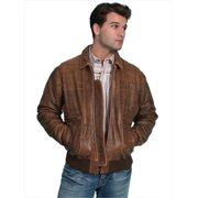 Scully 714-12-S Mens Leather Wear Lambskin Bomber Jacket, Brown Antique Lamb, Small