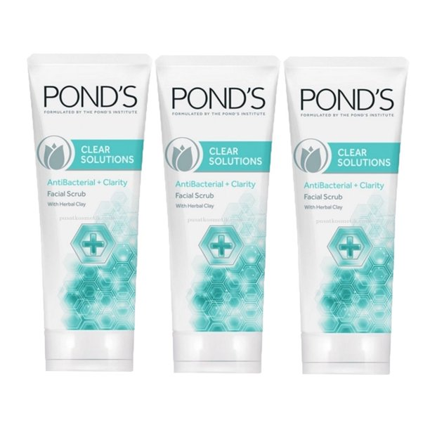 3 Pack Pond S Clear Solutions Facial Scrub Anti Bacterial Clarity 100 Gm Walmart Com Walmart Com