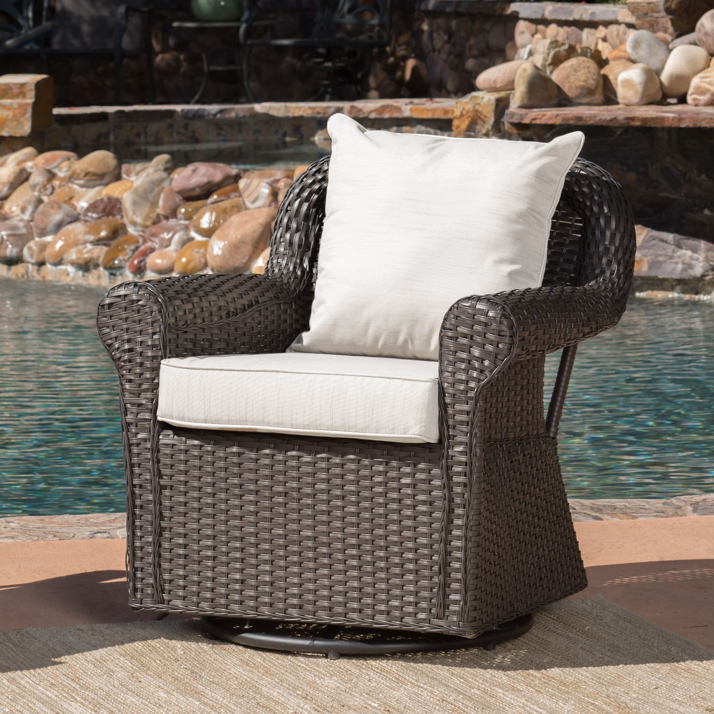 Christopher Knight Home Amaya Outdoor Wicker Swivel Rocking Chair with Cushion by