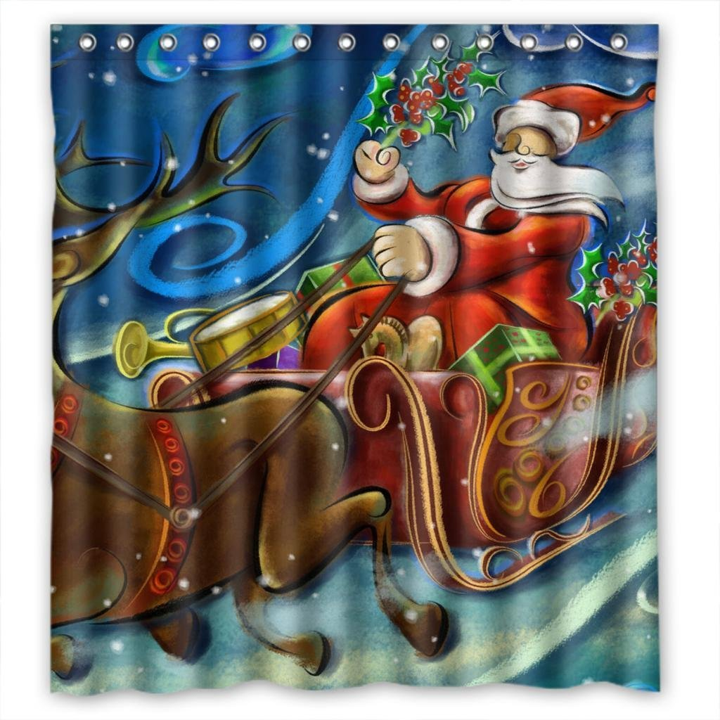 Hellodecor Deers Car With Senta Claus Merry Christmas Shower