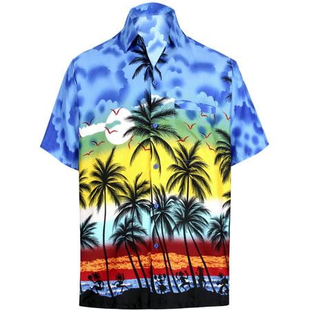 Palms Button - Hawaiian Shirt Mens Beach Aloha Camp Party Casual Holiday Short Sleeve Button Down Pocket Tropical Palm Tree Print P