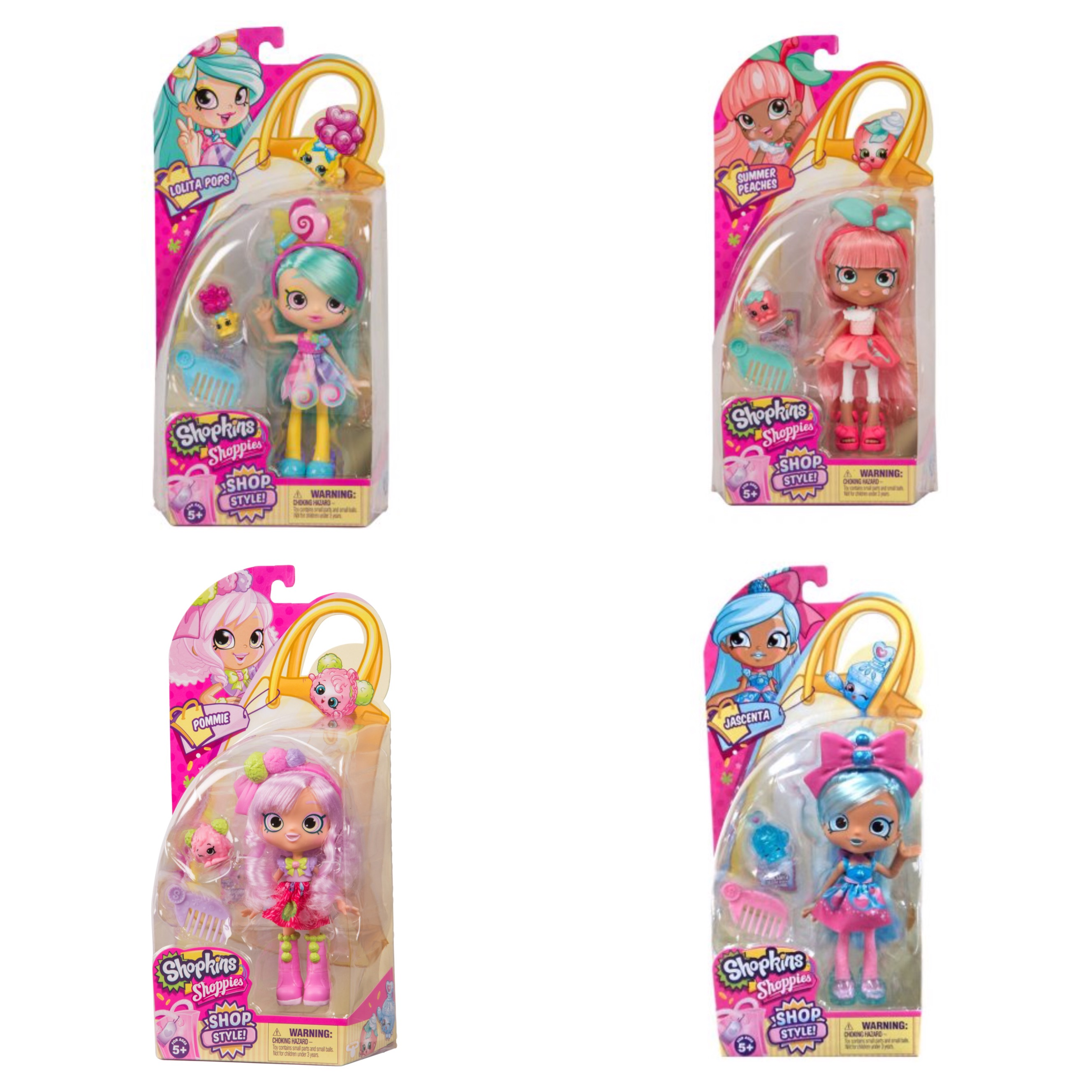 Shopkins Season 10 Shoppies Dolls Jascenta, Pommie, Lolita Pops and Summer Peaches Bundle