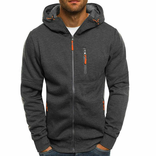 Mens Zip Up Hooded Hoodie Hoody Jacket Sweatshirt Casual Gym Coats Top Long Sleeve Casual Autumn Winter Outerwear