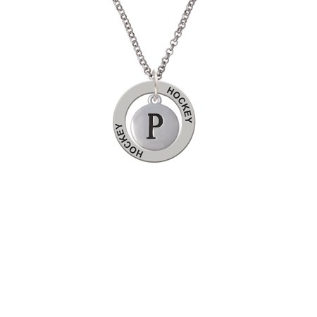 Capital Letter   P   Pebble Disc   Lucky Dog Affirmation Ring Necklace