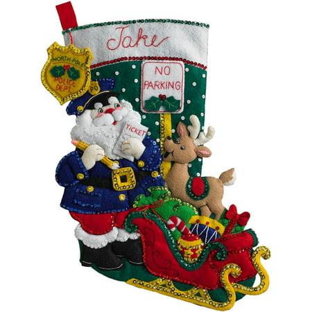 18 Inch Felt Stocking Kit - 18-Inch Christmas Stocking Felt Appliqué Kit, 86711 Officer Santa, 18 Bucilla felt stocking kit Officer Santa By Bucilla