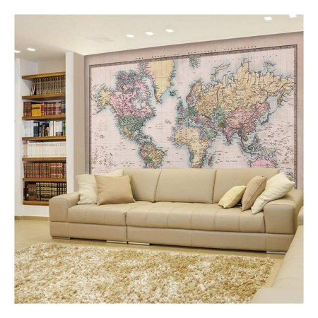 Wall26 - Full Color Antique Mercator Projection Political Map of the World Illustration - Wall Mural, Removable Sticker, Home Decor - 66x96