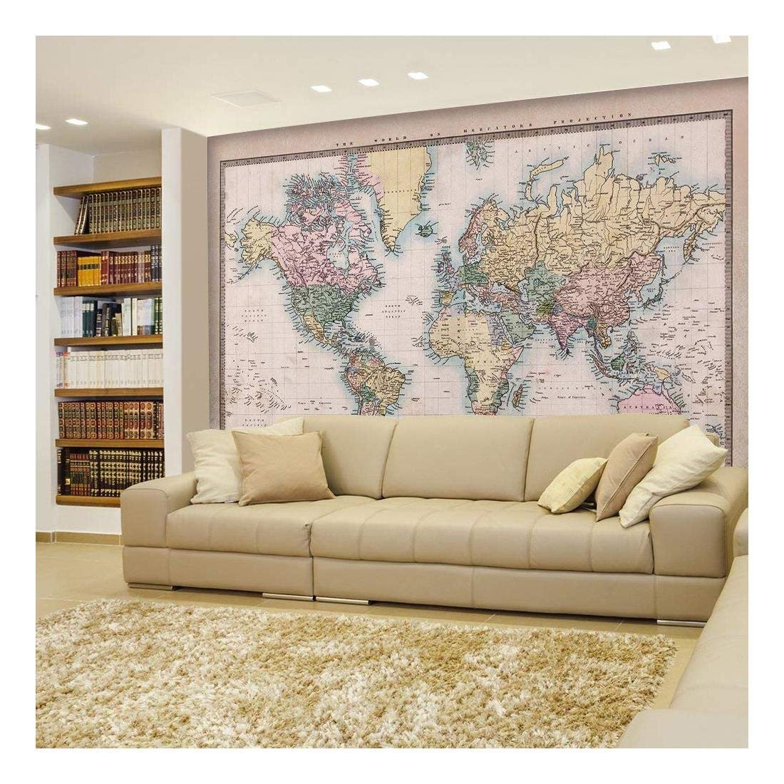 Wall26 - Full Color Antique Mercator Projection Political Map of the World Illustration - Wall Mural, Removable Sticker, Home Decor - 66x96 inches