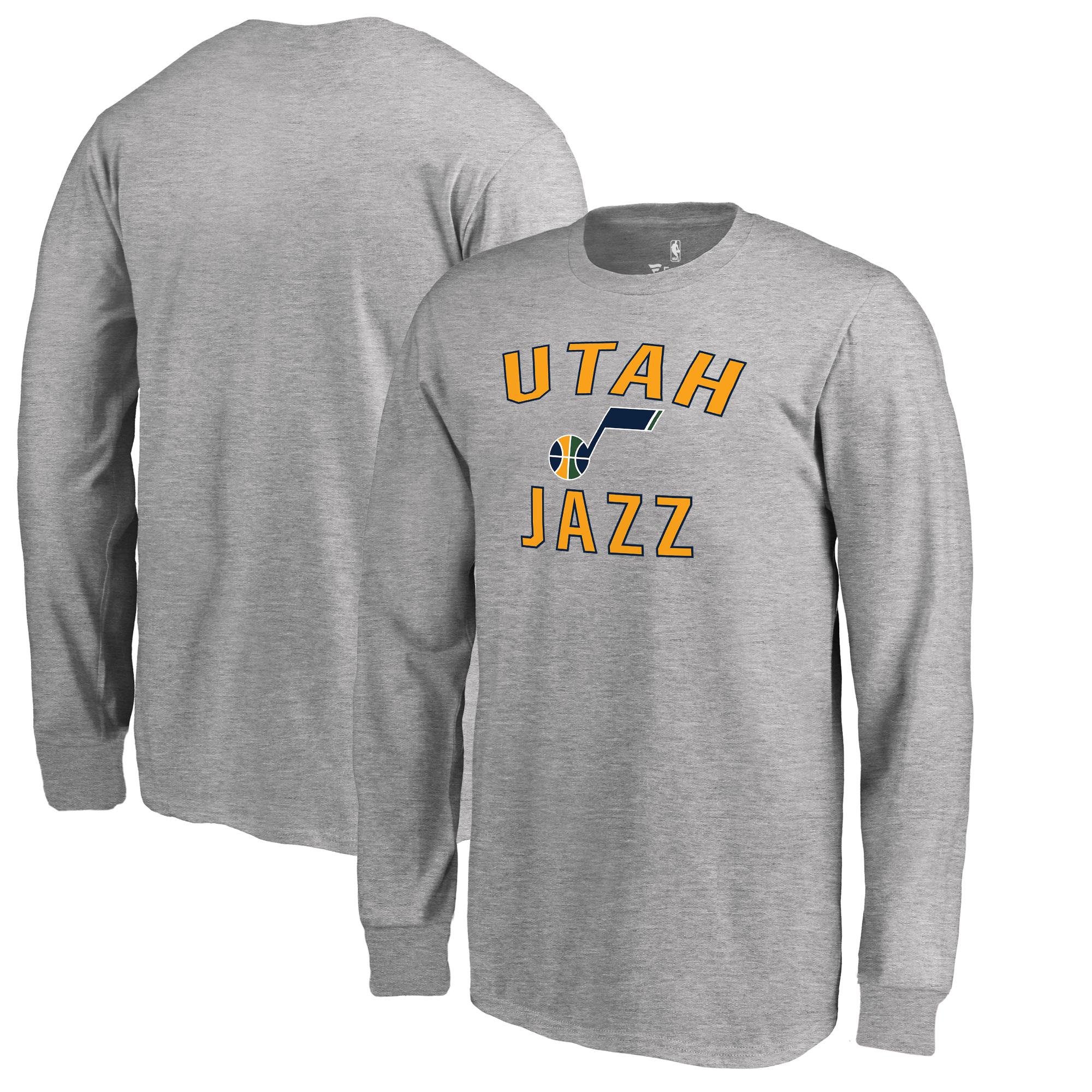 Utah Jazz Fanatics Branded Youth Victory Arch Long Sleeve T-Shirt - Heathered Gray