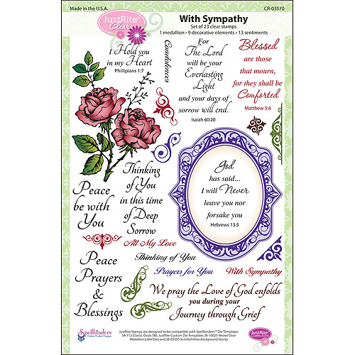 "JustRite Stampers 6"" x 8"" Clear Stamp Set, With Sympathy 23pc"