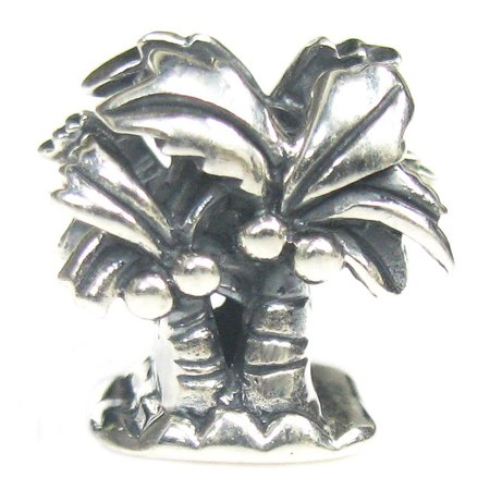 Sterling Silver Palm Tree Beach European Style Bead Charm Fits (Best Palm Beach Jewelry Friend Charm Beads)