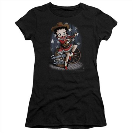 Boop-Country Star - Short Sleeve Junior Sheer Tee, Black - Small - image 1 of 1