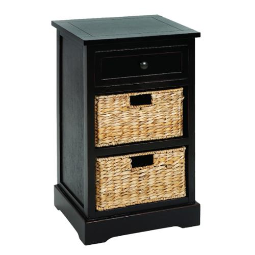 Malibu 3 Drawer Storage Wood Side Table Nightstand