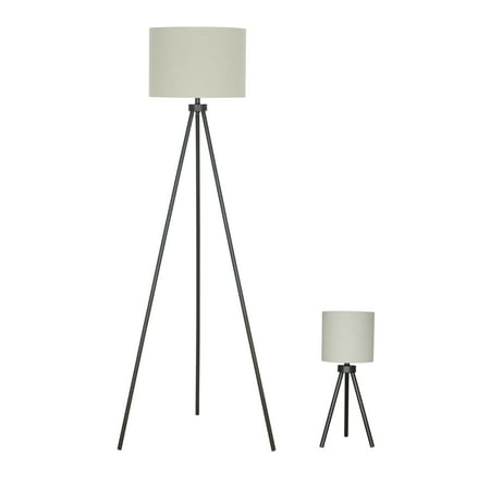 Better Homes & Gardens Modern Tripod Table & Floor Lamp Set, Black Finish