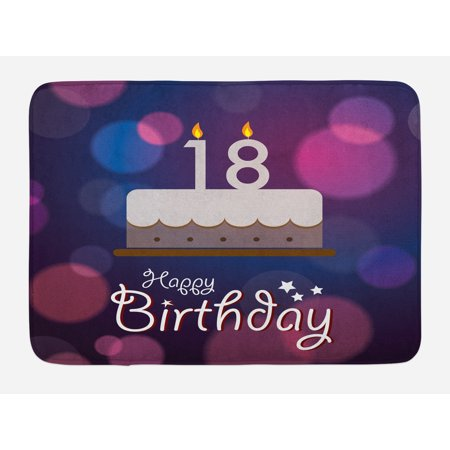 18th Birthday Bath Mat, Cartoon Birthday Party Cake with Candles Vibrant Abstract Backdrop, Non-Slip Plush Mat Bathroom Kitchen Laundry Room Decor, 29.5 X 17.5 Inches, Purple and Lilac, Ambesonne