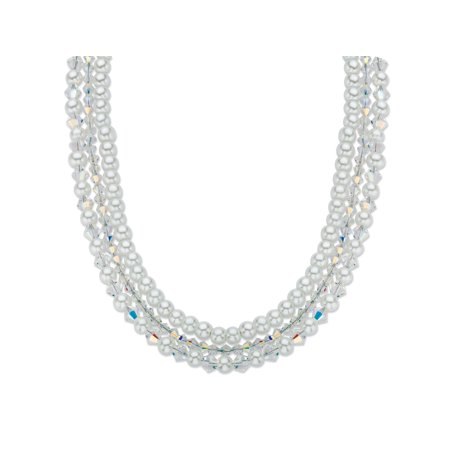 Aurora Borealis Crystal and Simulated Pearl Silvertone Triple-Strand Necklace 16