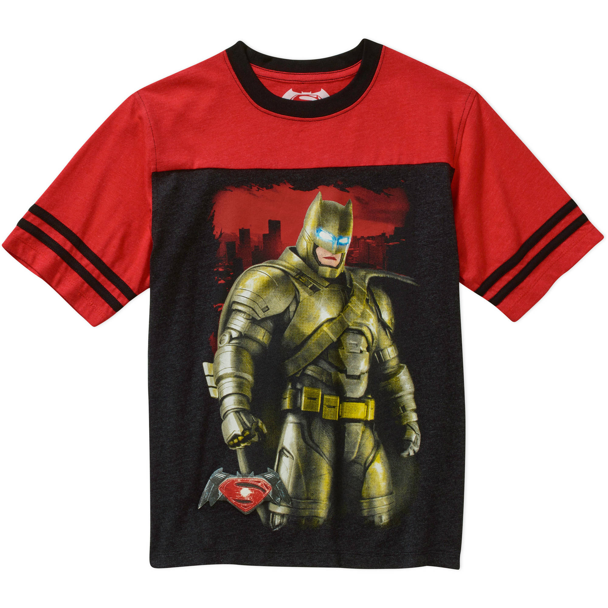 DC Comics Batman Boys Yoke Short Sleeve Graphic Tee