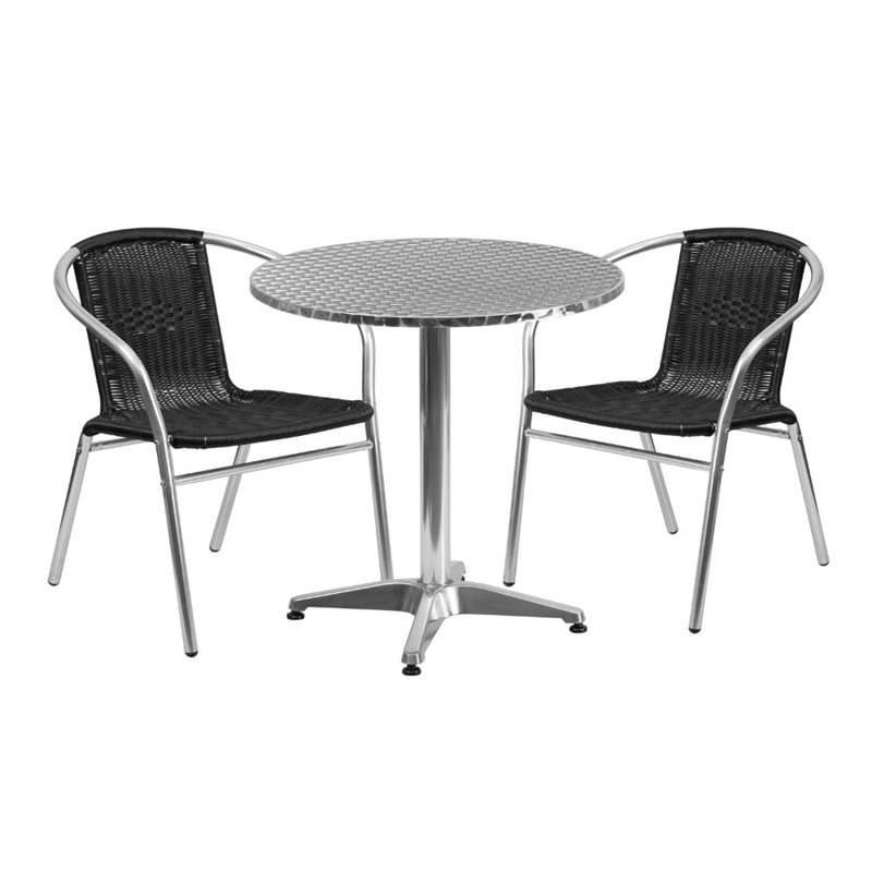 Bowery Hill 3 Piece Round Patio Dining Set in Aluminum and Black