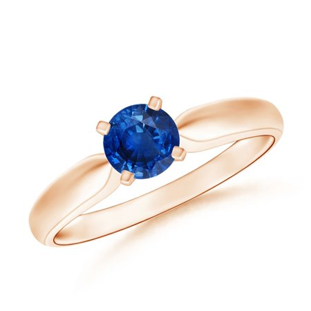 September Birthstone Ring - Solitaire Round Sapphire Tapered Shank Ring in 14K Rose Gold (5mm Blue Sapphire) - SR0245S-RG-AAA-5-12.5