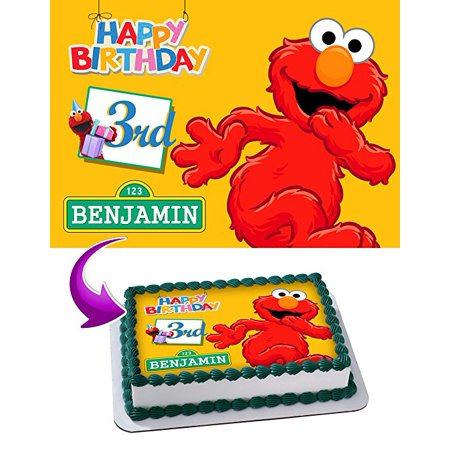 Elmo Sesame Street Birthday Cake Personalized Cake Toppers Edible Frosting Photo Icing Sugar Paper A4 Sheet 1/4 Edible Image for cake - Elmo Cake Decorations