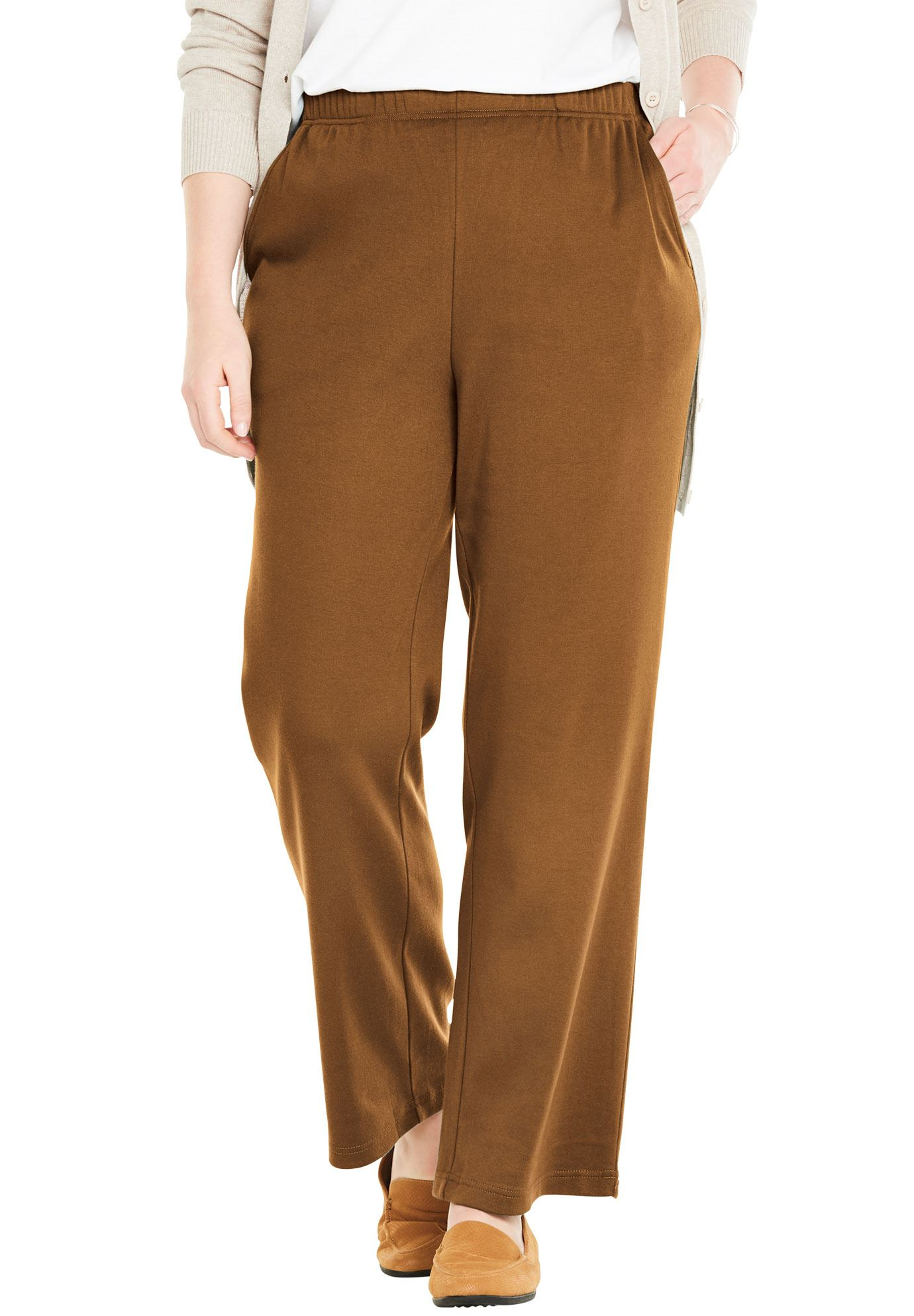 Woman Within Plus Size Tall 7-day Knit Wide Leg Pant