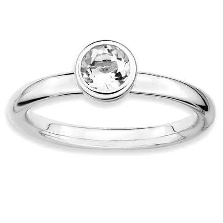 Sterling Silver Stackable Expressions Low 5mm Round White Topaz Ring Size 8 - image 1 of 3
