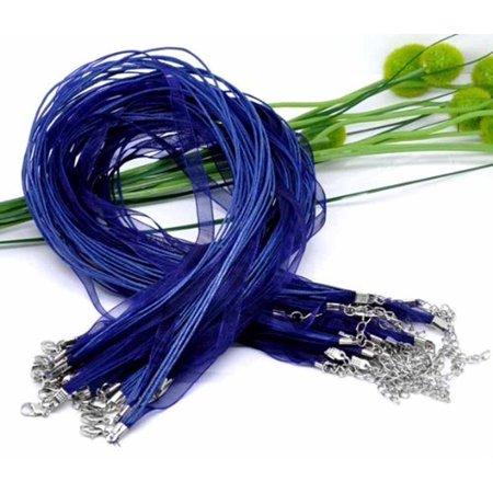 15 Organza Ribbon with Waxen Cord Necklaces Lobster Clasp 17 Inch (Dark Blue)