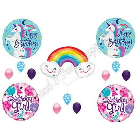 UNICORN, RAINBOW & CLOUDS BIRTHDAY GIRL Birthday Balloons Decoration Supplies Party](Girls Party Supplies)
