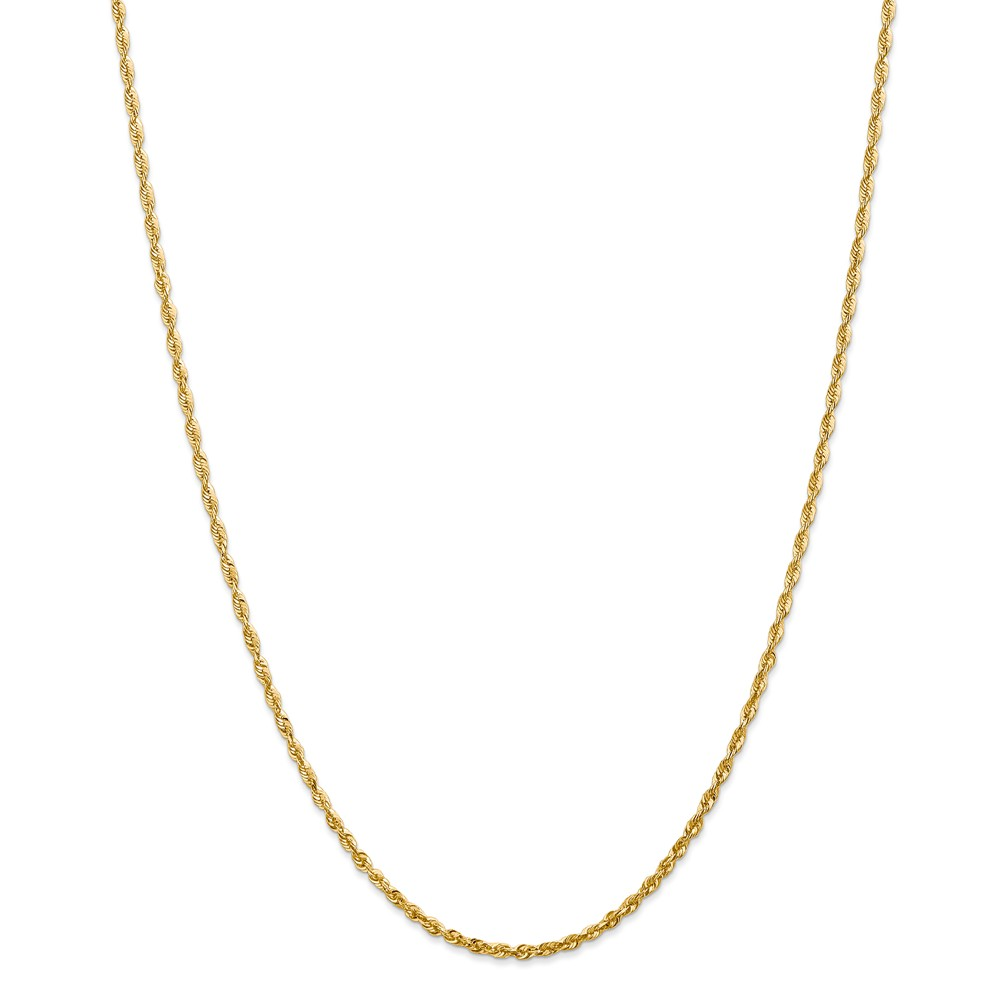 14k Yellow Gold 10in 2.15mm D/C Extra-Lite Rope Anklet Chain