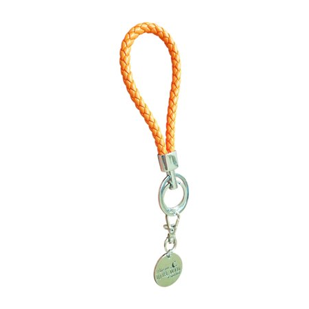 Double Braided Leather - Double Ring Fashion BV Braided Leather Key-Chains Handbags Charms(Orange)