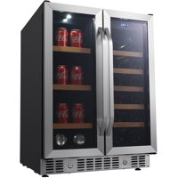 """EdgeStar CWB1760FD Stainless Steel 24"""" Wide 17 Bottle Wine And 53 Can Beverage Cooler"""