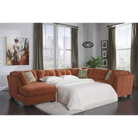 Ashley Delta City 3 Piece Fabric Full Sleeper Sectional In Rust