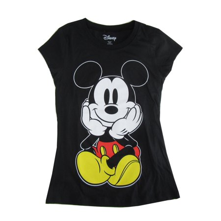 3e23a44e4 Disney - Disney Women s Black Mickey Mouse Print Short Sleeved Trendy T- Shirt - Walmart.com