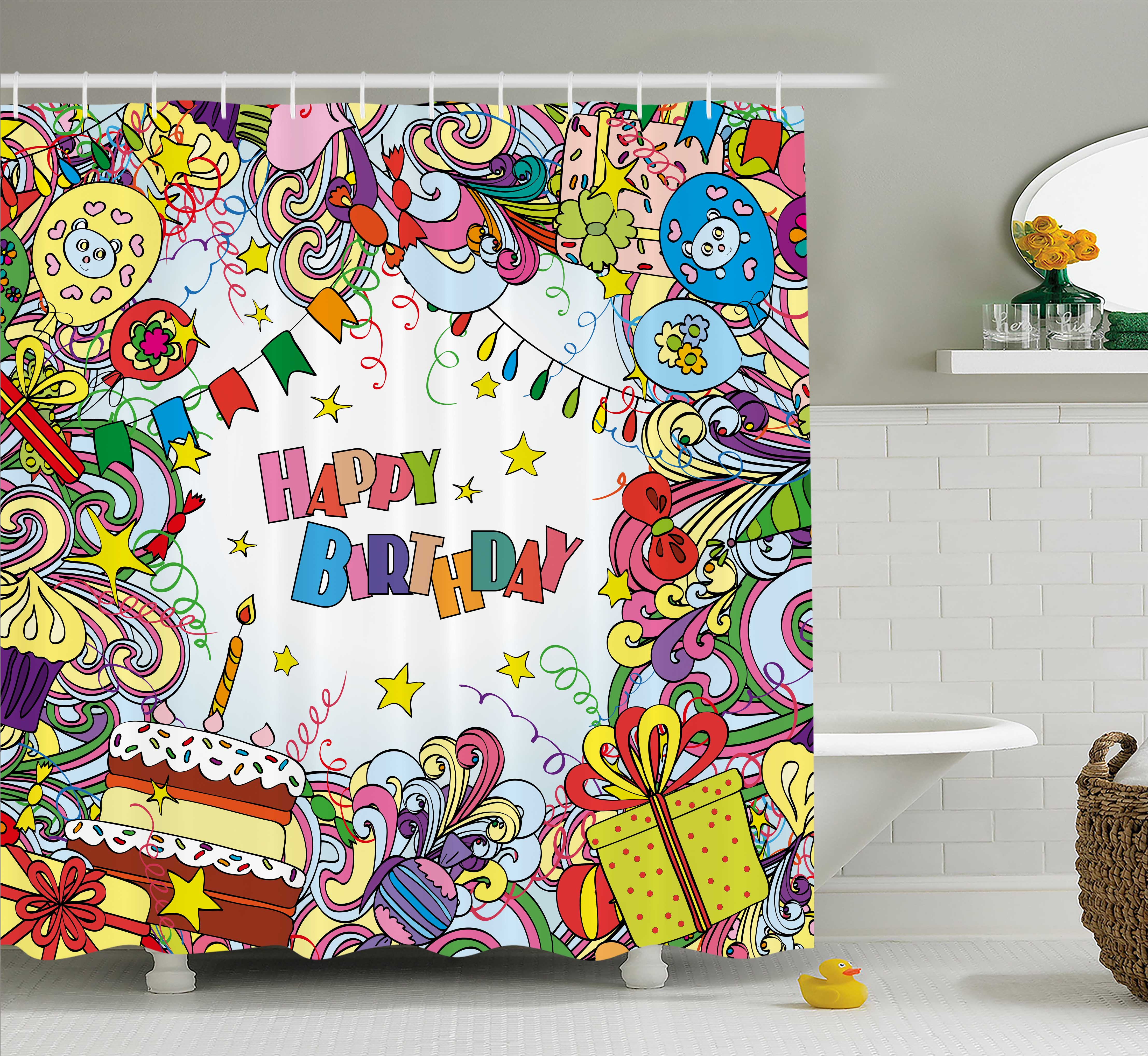 Birthday Decorations Shower Curtain, Greeting Card Inspired Artwork Colorful Cartoon Style Festive Party, Fabric Bathroom Set with Hooks, 69W X 84L Inches Extra Long, Multicolor, by Ambesonne