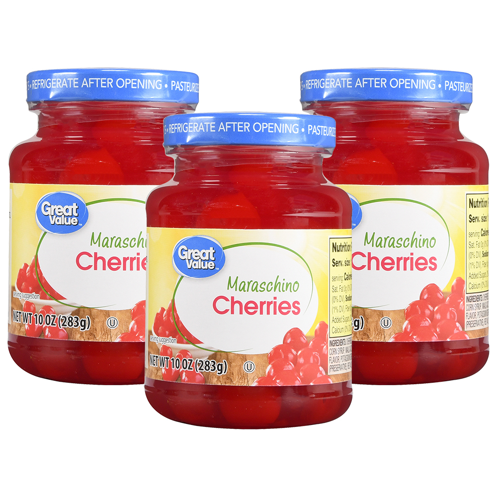 (3 Pack) Great Value Maraschino Cherries, 10 oz