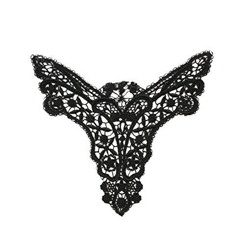 7 x 5.5 inches 14 Color Venice Lace Bodice Motif Applique Patch Sold By 1 Piece (Black)