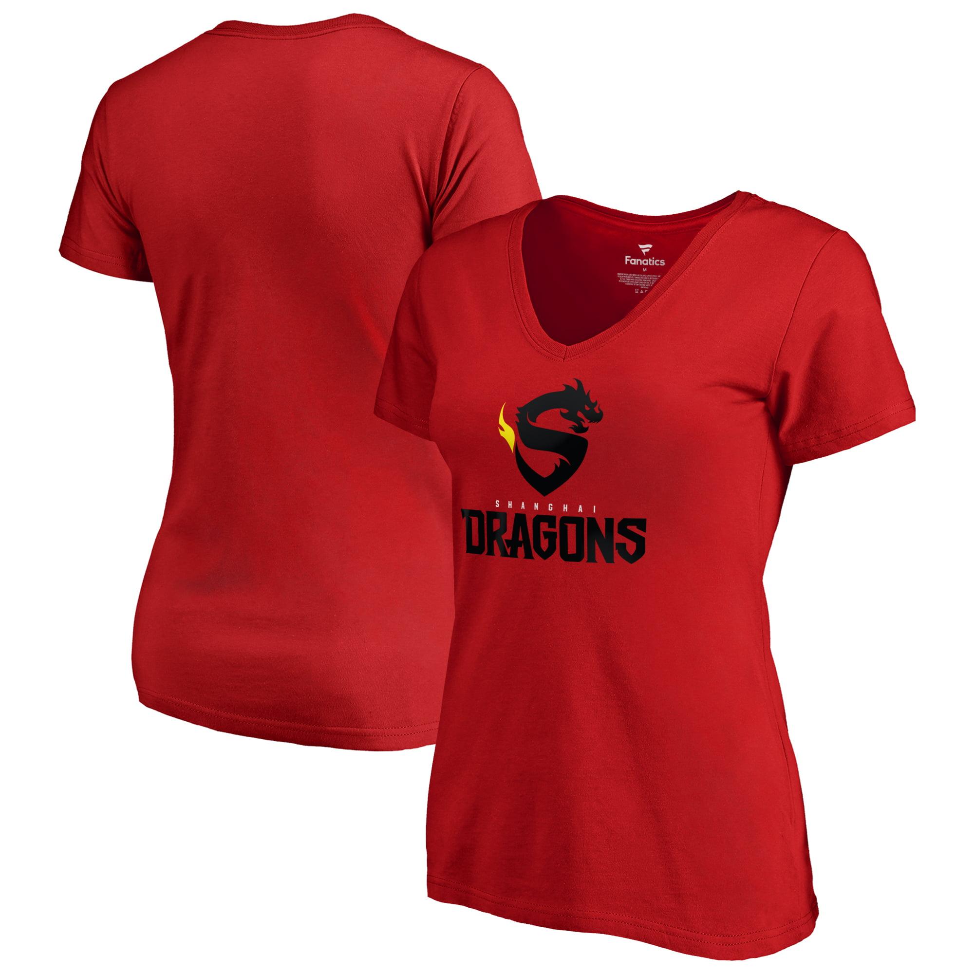 Shanghai Dragons Fanatics Branded Women's Team Identity V-Neck T-Shirt - Red