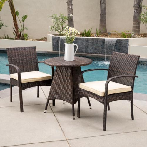 Laguna Outdoor 3-Piece Wicker Bistro Set With Cushions