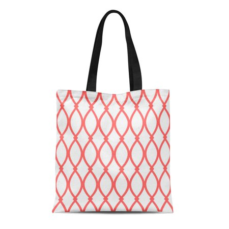ASHLEIGH Canvas Tote Bag Pink Pattern White and Coral Barcelona Orange Argyle Modern Reusable Handbag Shoulder Grocery Shopping (Barcelona Handbag)