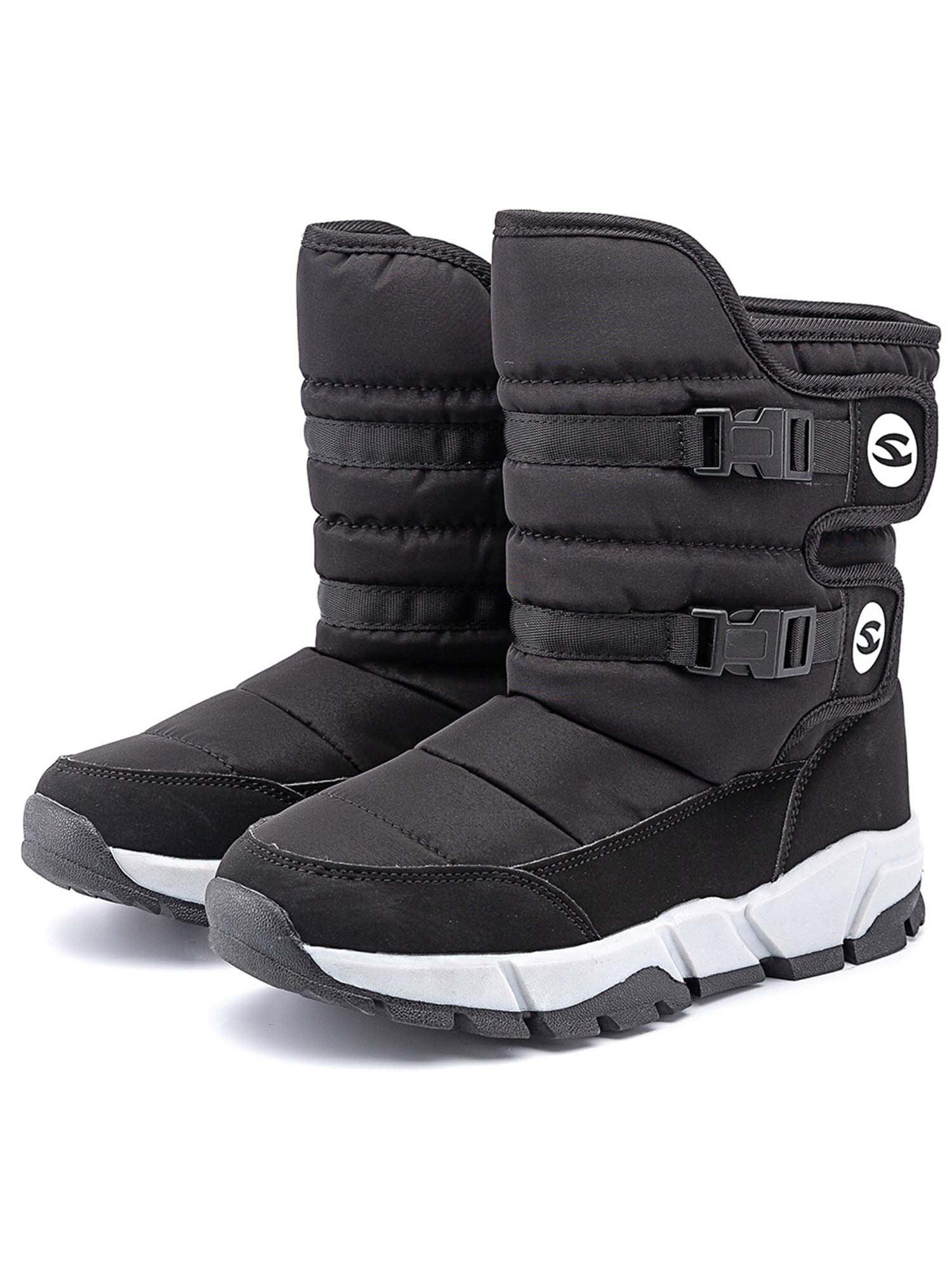 Kids Boys Girls Winter Snow Boots Waterproof Outdoor Warm Faux Fur Lined Shoes